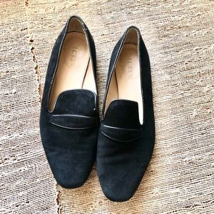 J Crew Black Suede Loafers Size 8.5